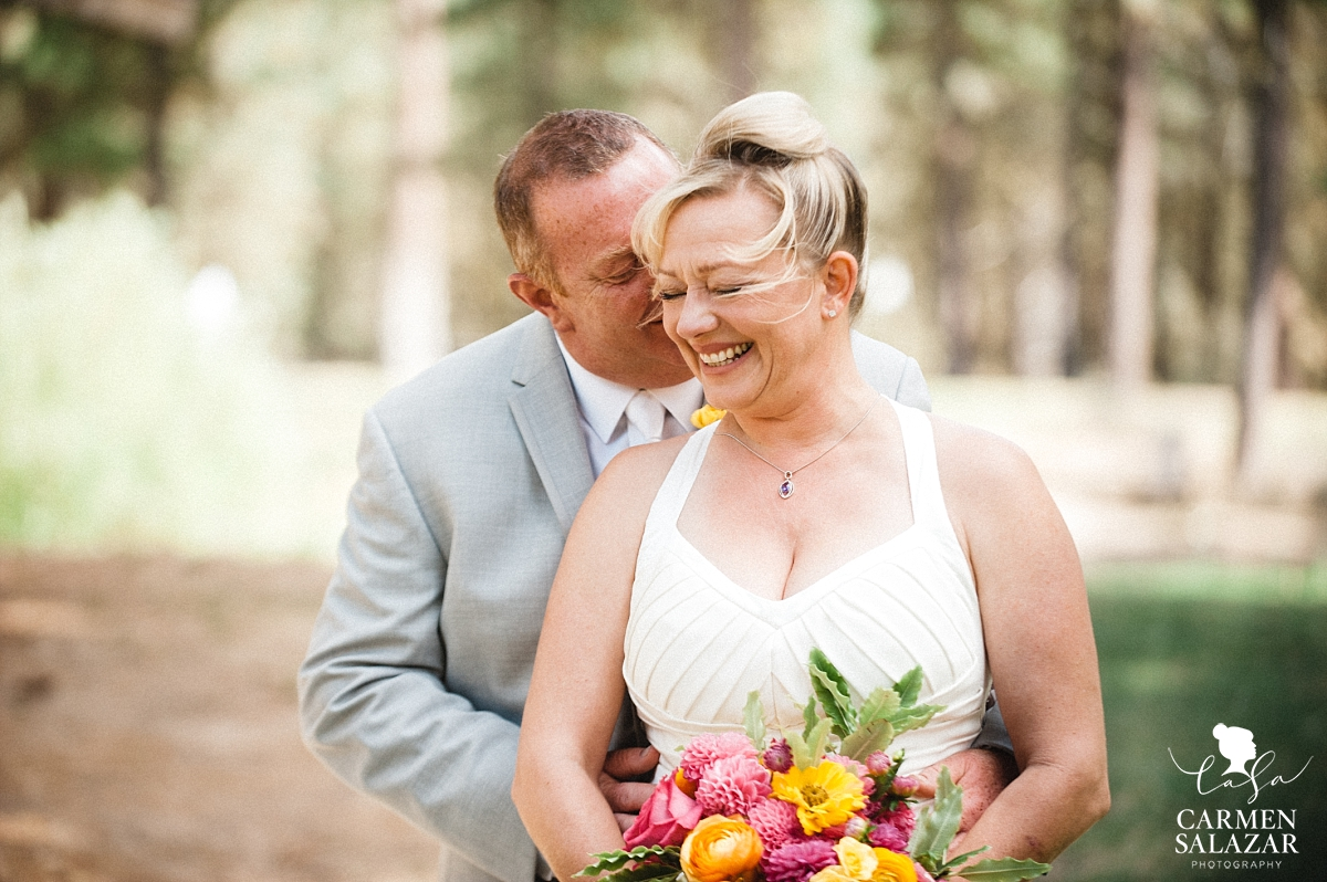 happy Bride and groom portraits at Chalet View Lodge- Carmen Salazar
