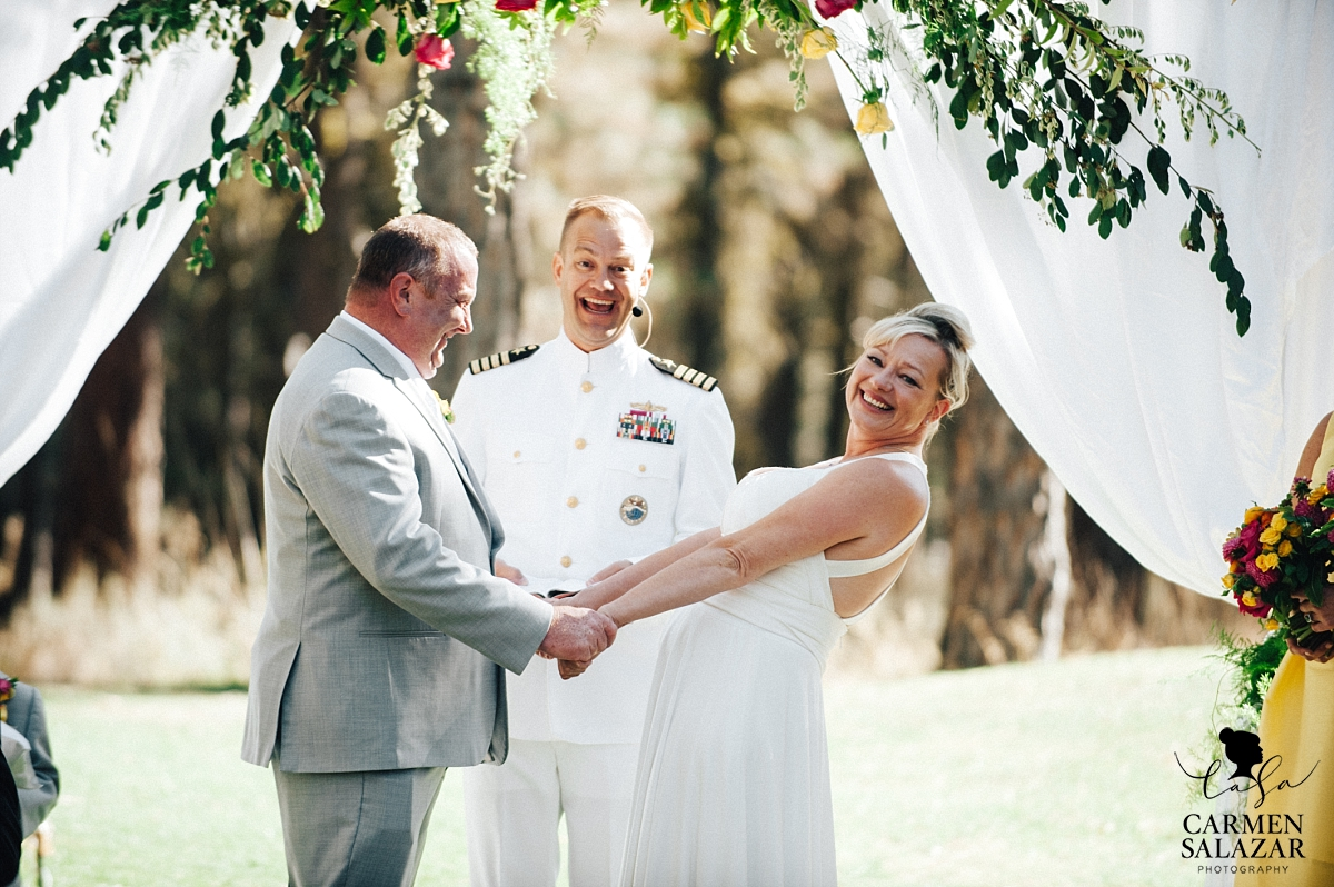 Happy bride and groom arrive at Tahoe ceremony - Carmen Salazar