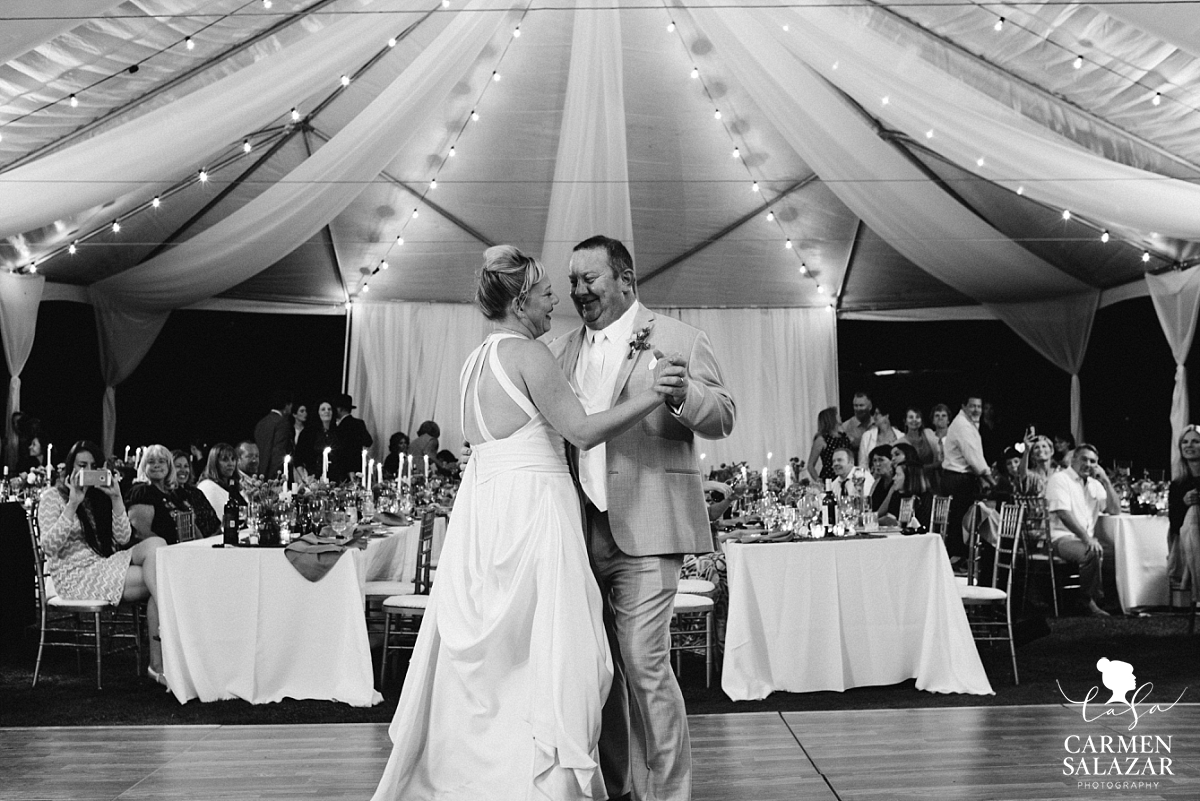 First dance in magical outdoor reception tent - Carmen Salazar