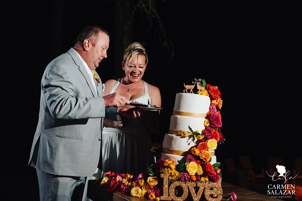 Bride and groom cutting fun cake at Chalet View Lodge- Carmen Salazar
