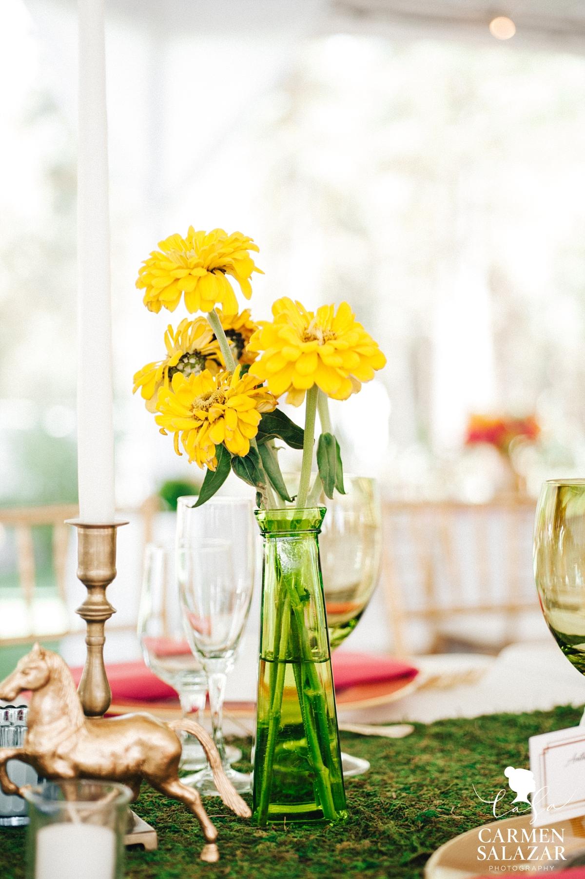 yellow wedding reception flowers by Melody Raye Flowers - Carmen Salazar