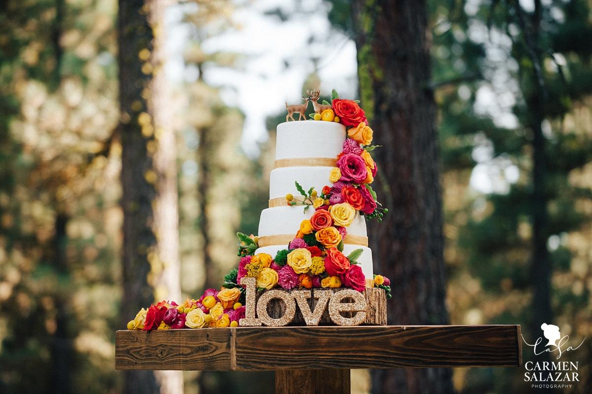 Colorful hipster wedding cake design with deer - Carmen Salazar