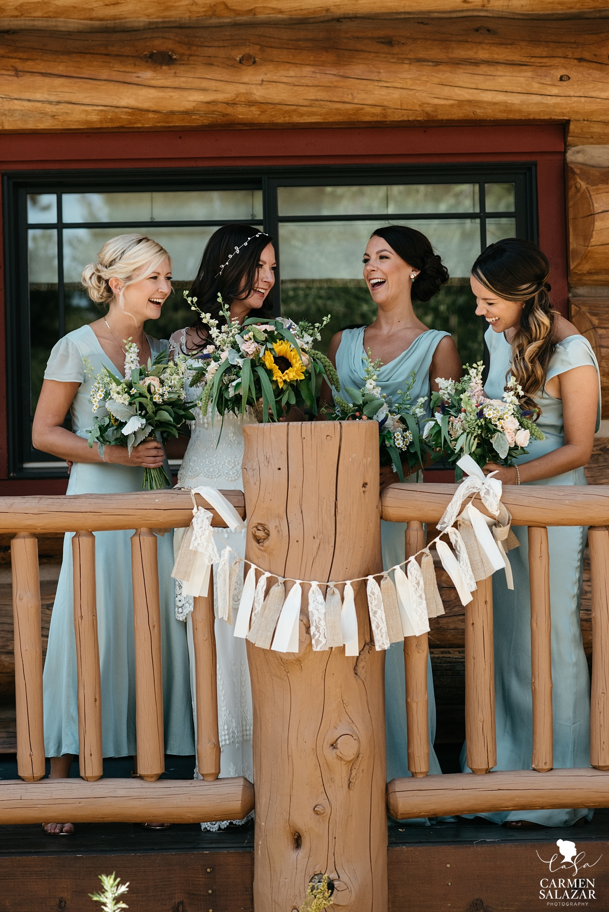 Bridal party hanging out at The Hideout cabin - Carmen Salazar
