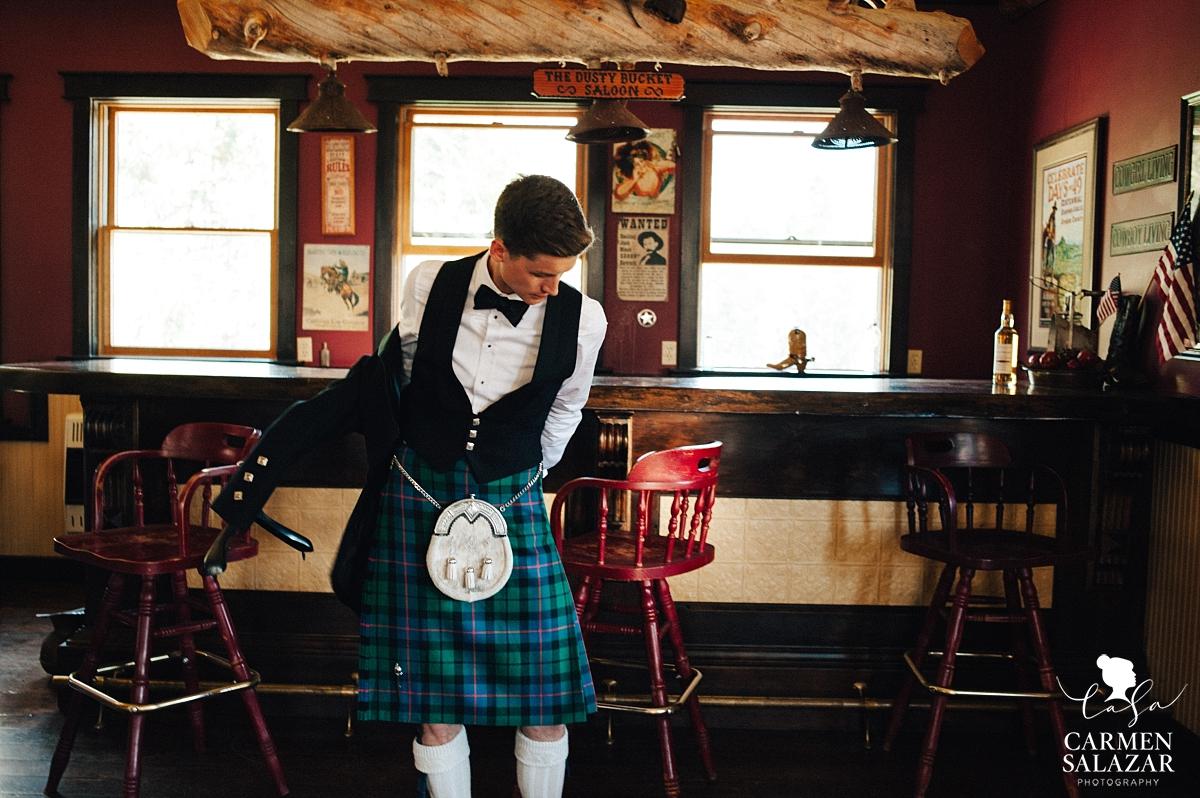 Scottish Tahoe wedding groom - Carmen Salazar