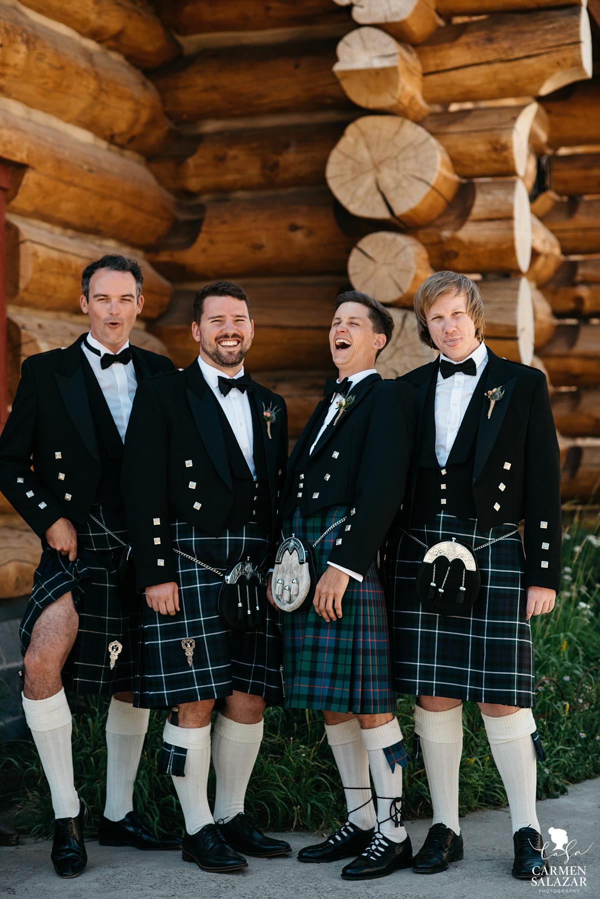 Silly groomsmen in kilts at Hideout - Carmen Salazar