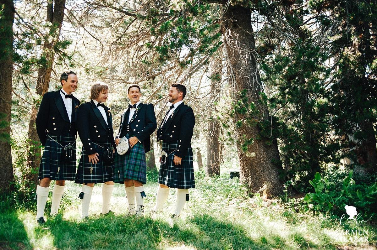 Dashing groomsmen in Scottish kilts - Carmen Salazar