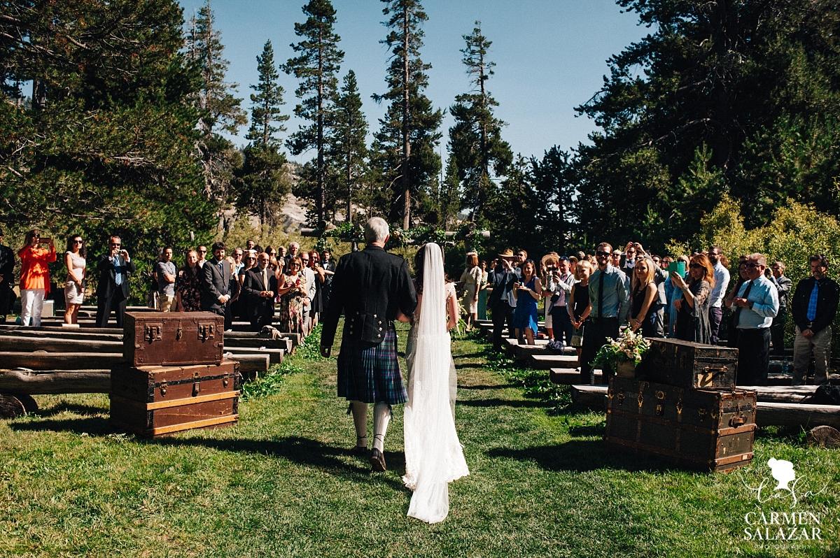 Bride walking down the aisle at The Hideout - Carmen Salazar