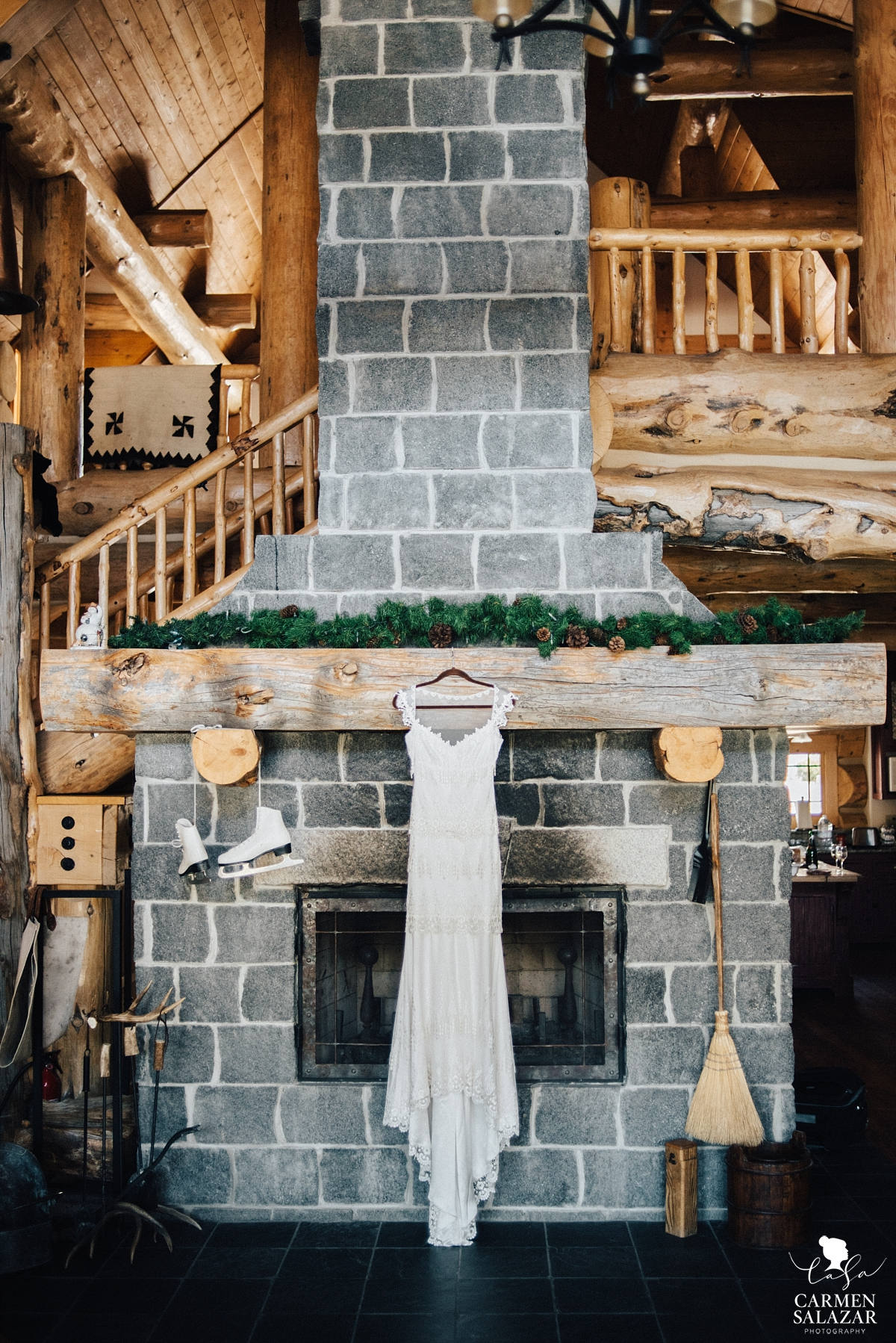 Rustic wedding cabin with vintage wedding gown - Carmen Salazar