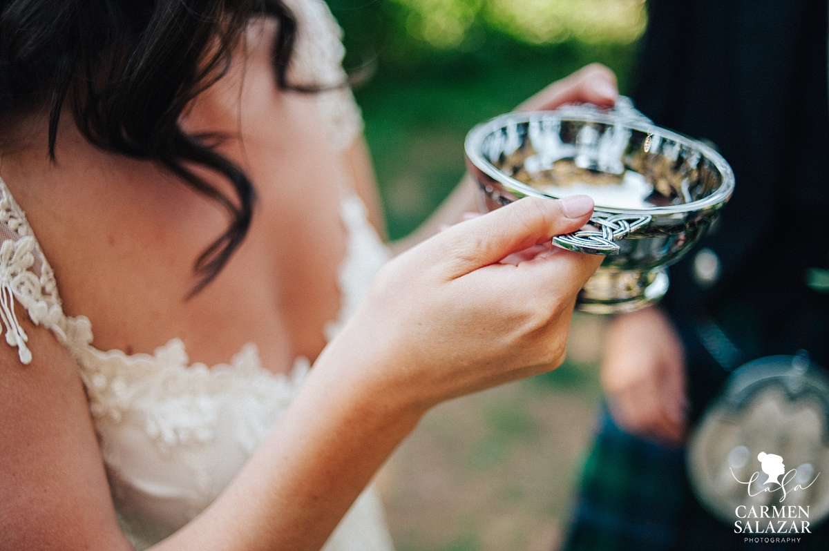 Ornate wedding quaich at Tahoe wedding - Carmen Salazar