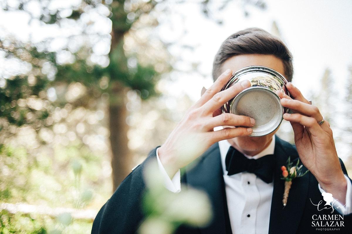 Groom drinking from Scottish wedding cup - Carmen Salazar