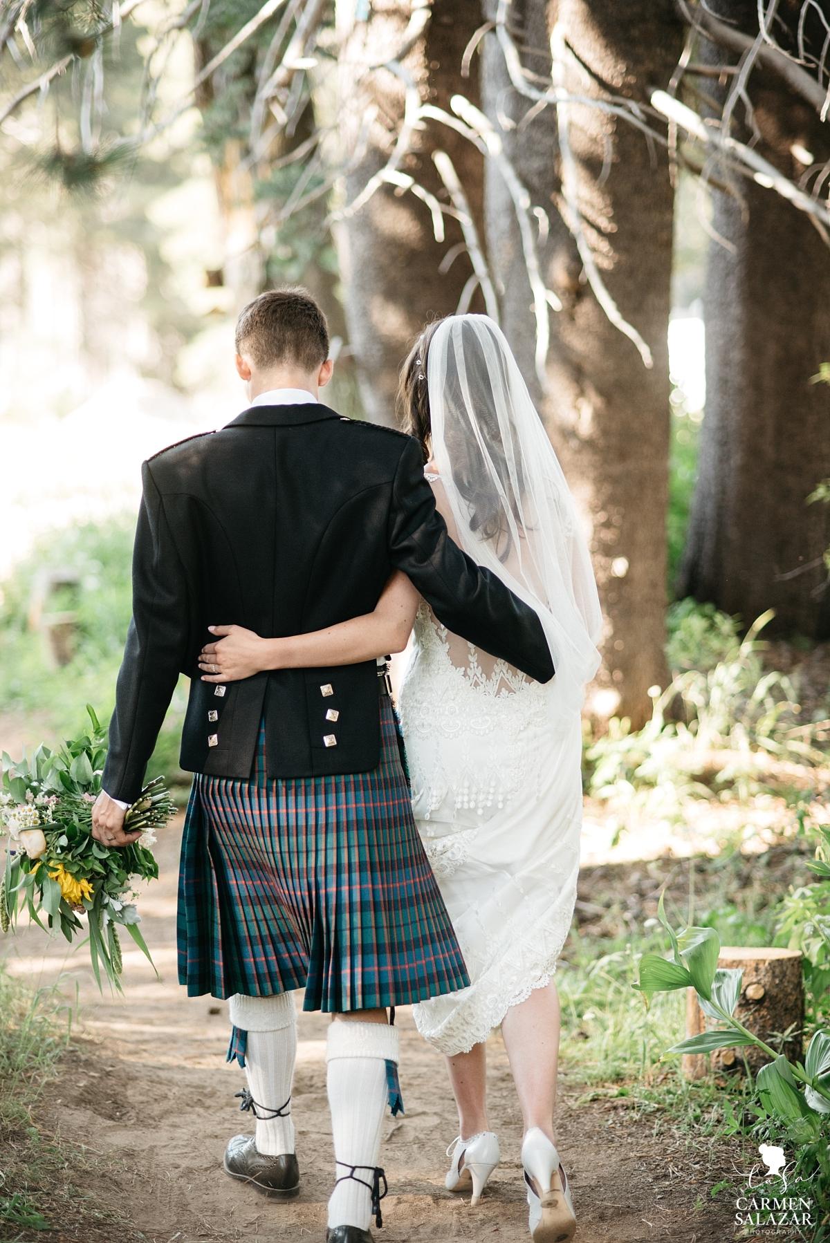 Classic vintage bride and groom after ceremony - Carmen Salazar