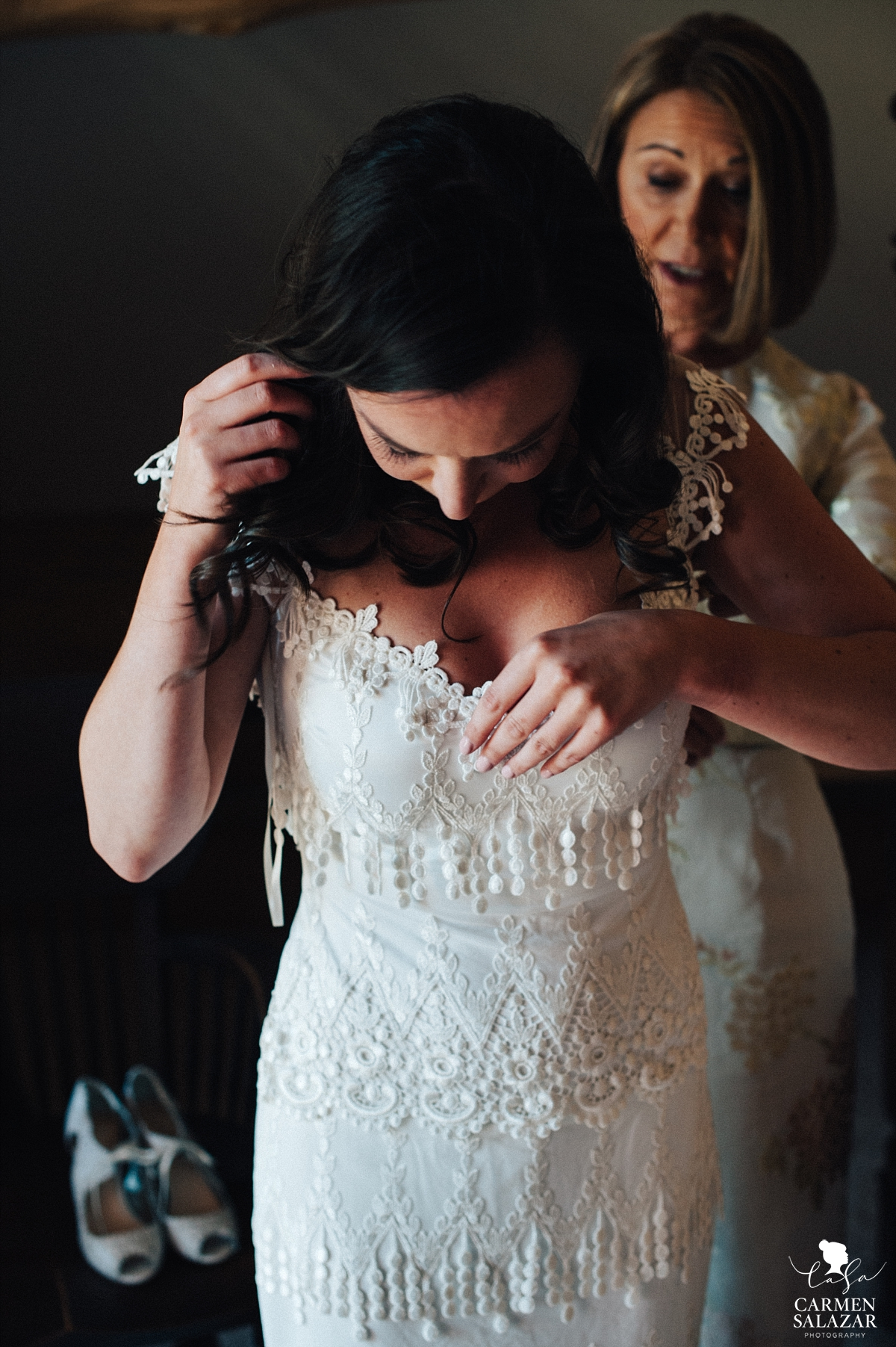 Bride getting ready in vintage lace gown - Carmen Salazar
