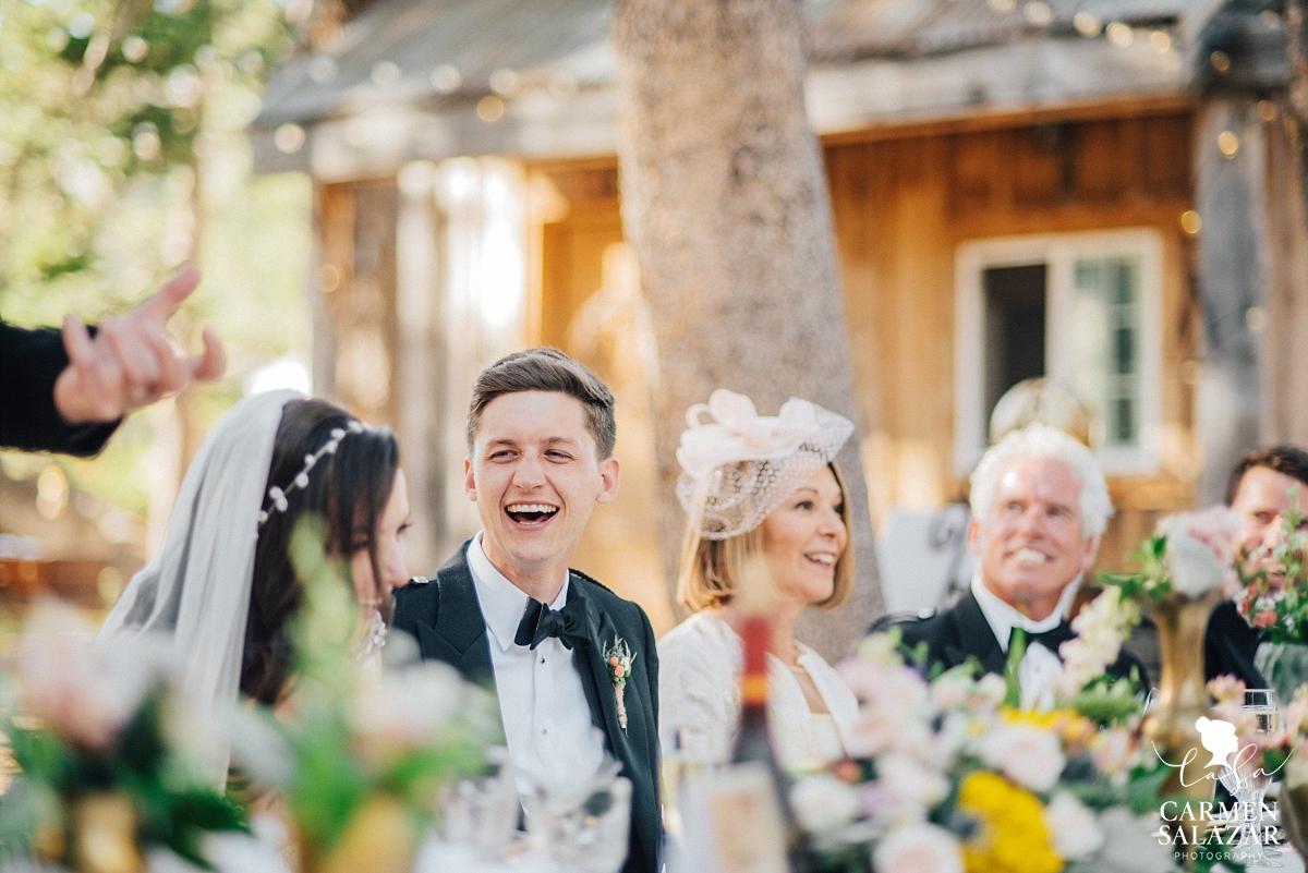 Laughing vintage styled Tahoe groom - Carmen Salazar