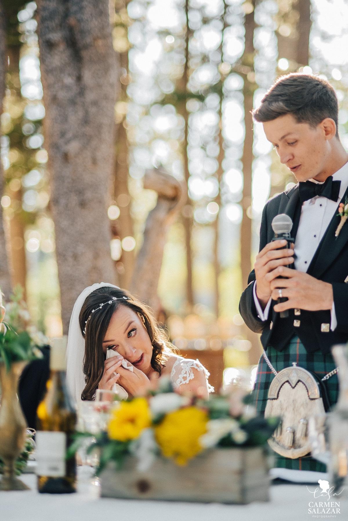 Bride crying at speeches at Kirkwood reception - Carmen Salazar