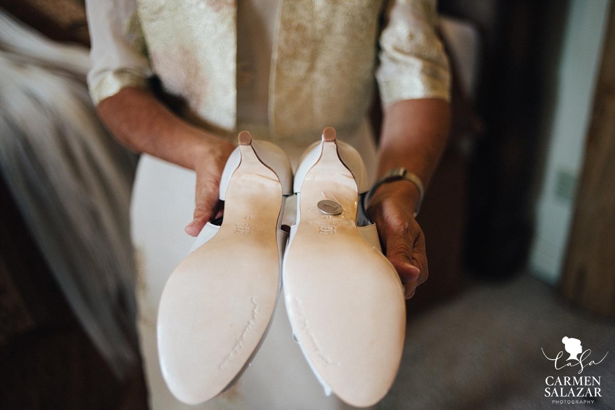 Lucky sixpence on wedding shoes - Carmen Salazar