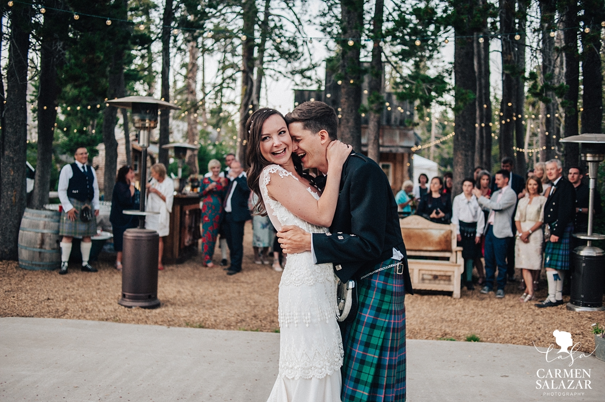 Playful first dance at The Hideout Tahoe reception - Carmen Salazar