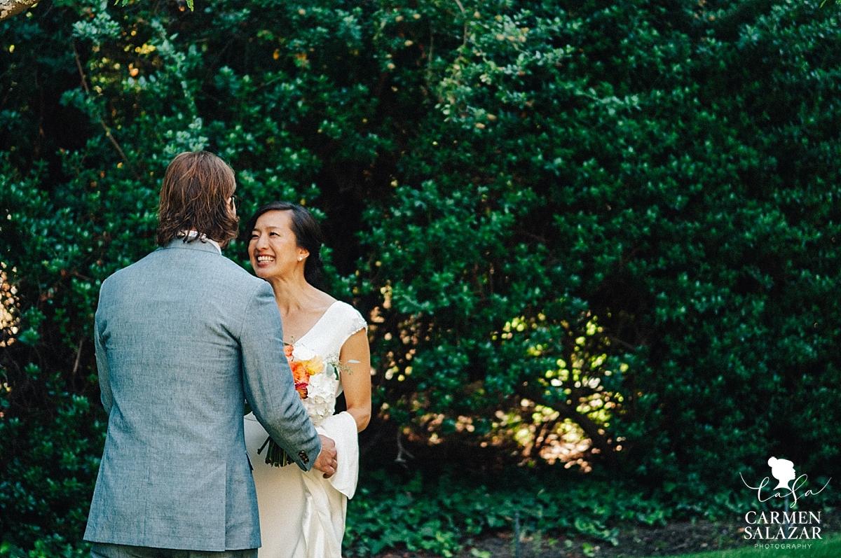 First sight at summer outdoor Santa Cruz wedding - Carmen Salazar
