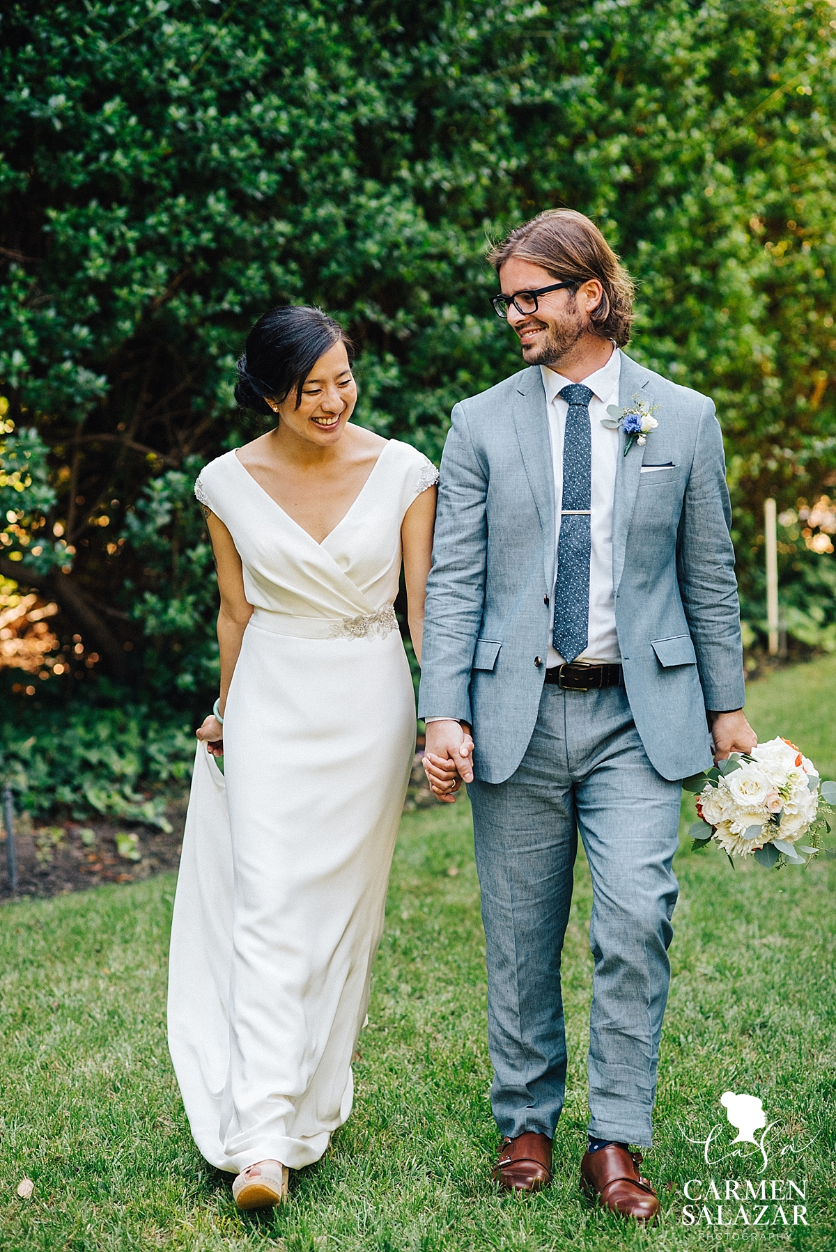 Sweet Bay area bride and groom at reception - Carmen Salazar