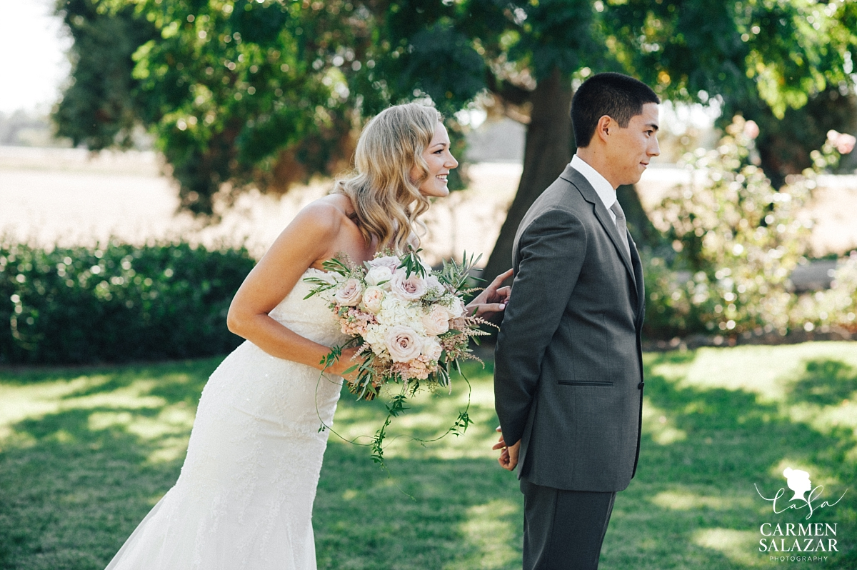 Bride and groom first look at winery estate - Carmen Salazar