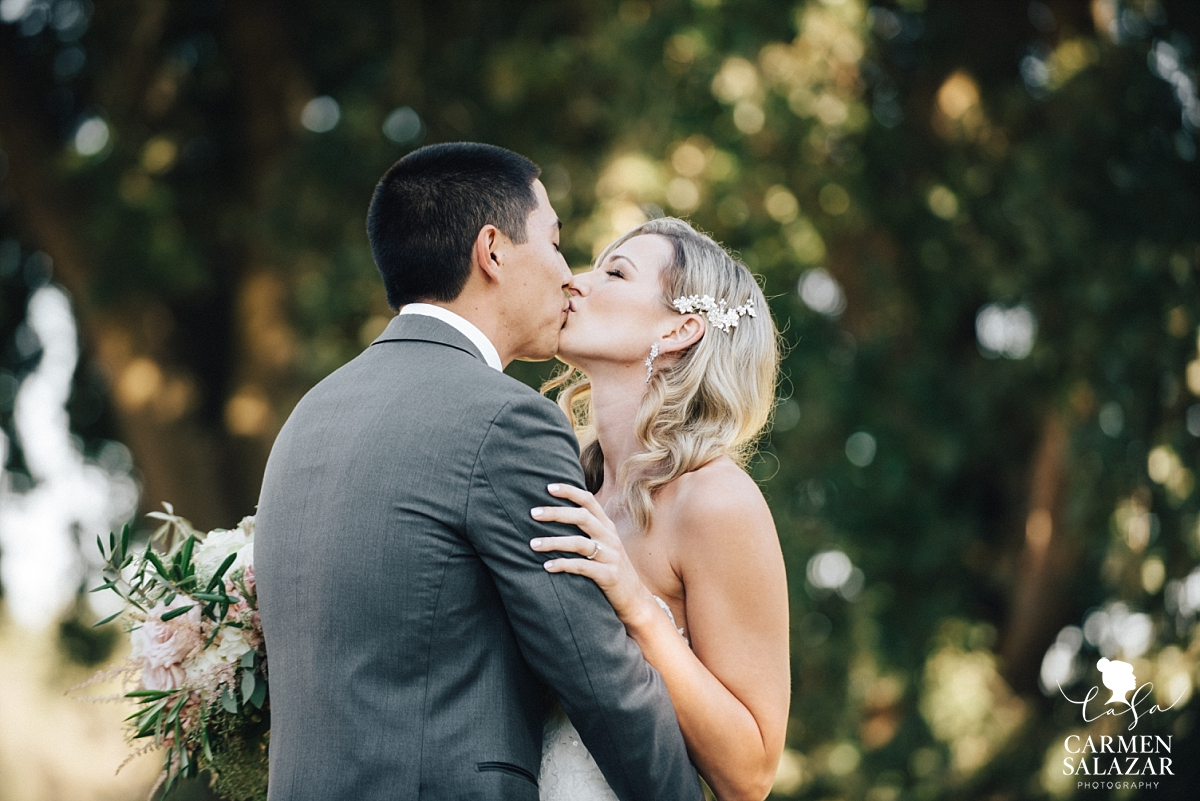 Romantic outdoor winery first look photography - Carmen Salazar
