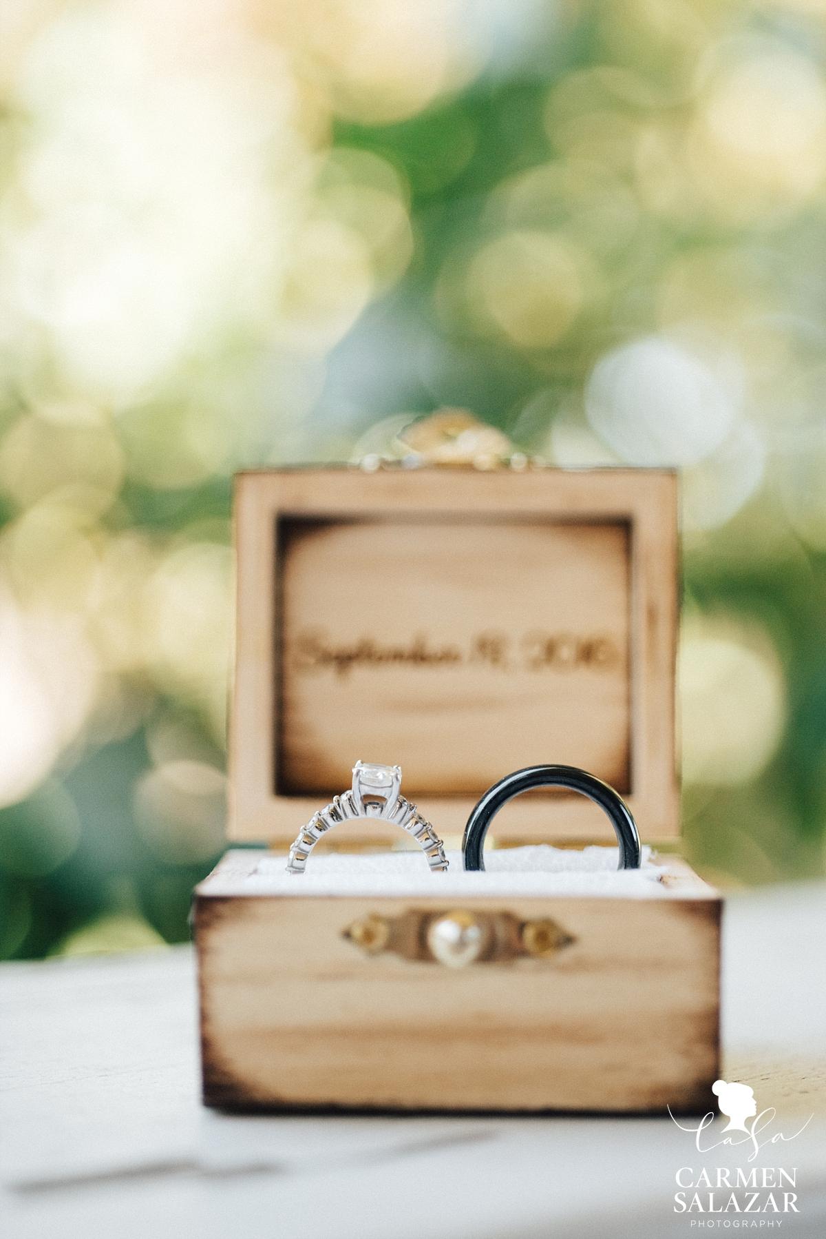 Modern wedding rings in personalized wood ring box - Carmen Salazar