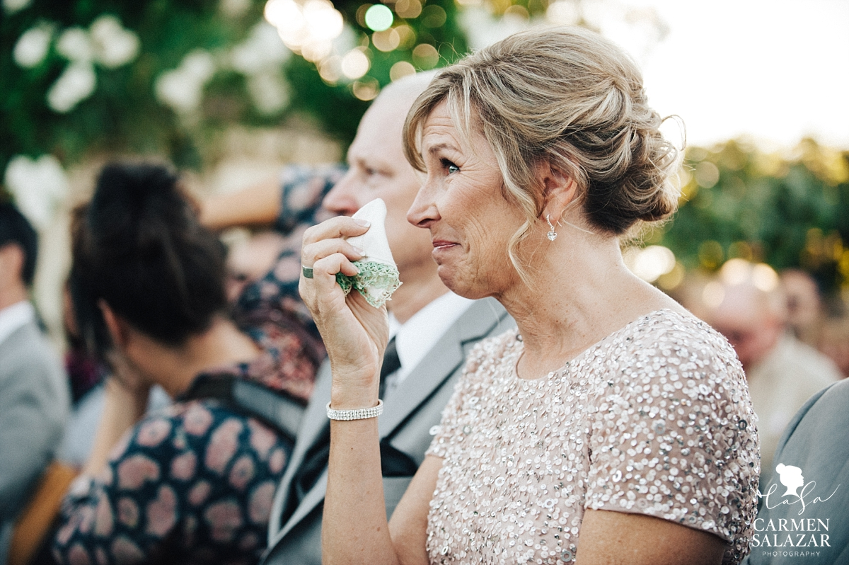 Crying mother of the bride at sweet ceremony - Carmen Salazar