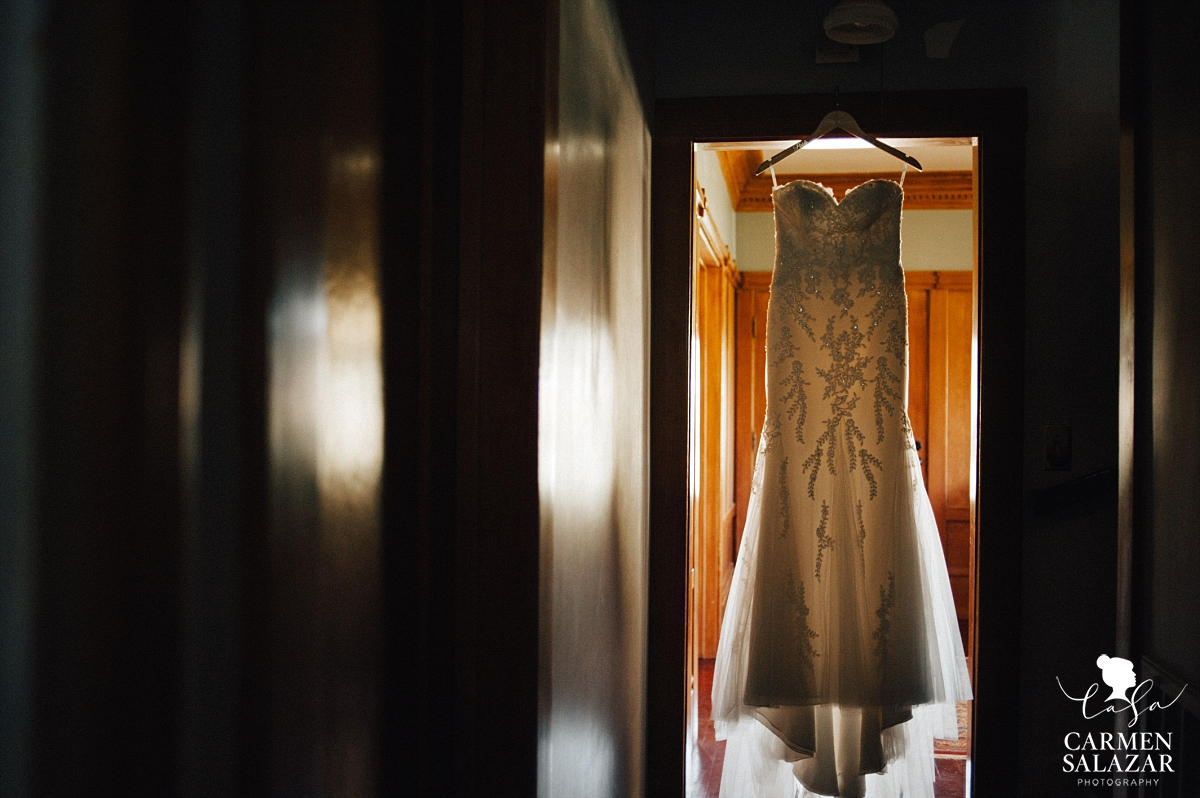 Gorgeous La Soie lace strapless fit and flare wedding gown - Carmen Salazar