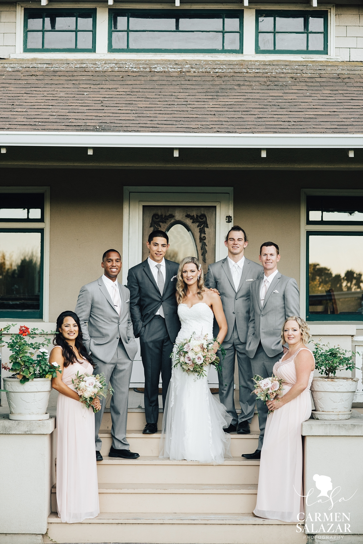 Pastel and grey wedding party portraits at Scribner Bend - Carmen Salazar