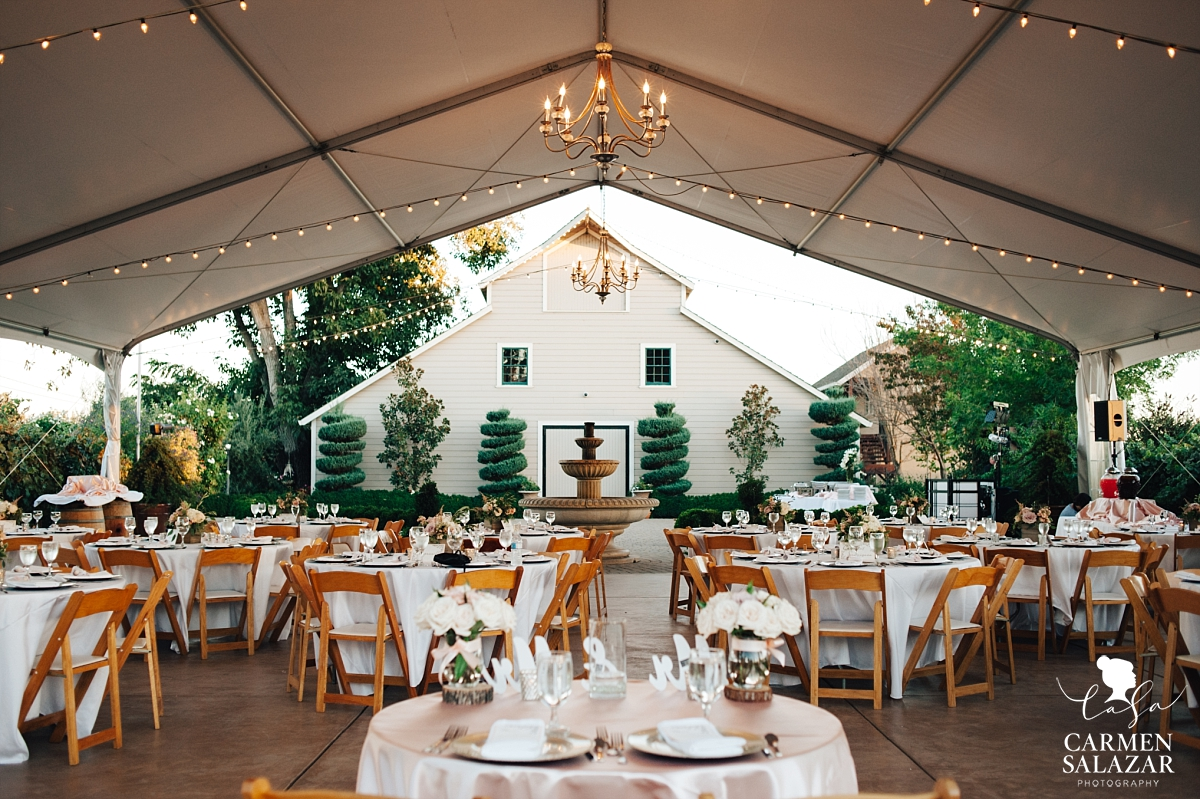 Lovely tented outdoor Scribner Bend reception - Carmen Salazar