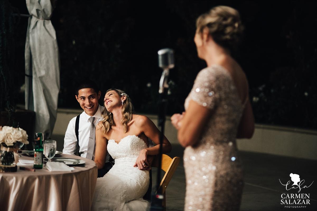 Reception wedding toasts at Scribner Bend - Carmen Salazar