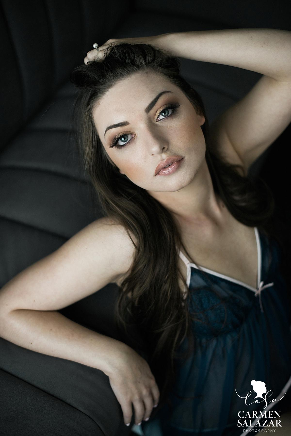 Elegant bombshell boudoir beauty - Carmen Salazar