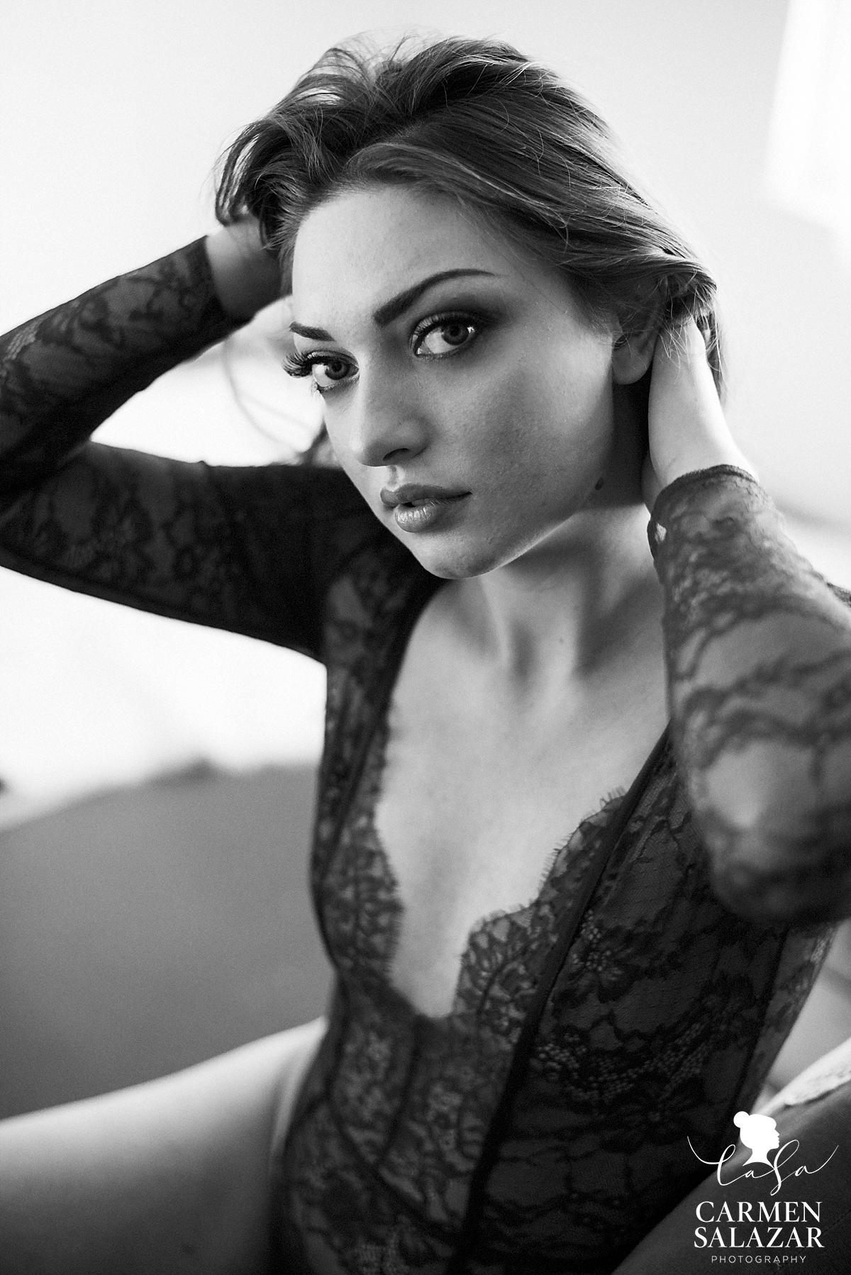Elegant boudoir lace fashion style - Carmen Salazar