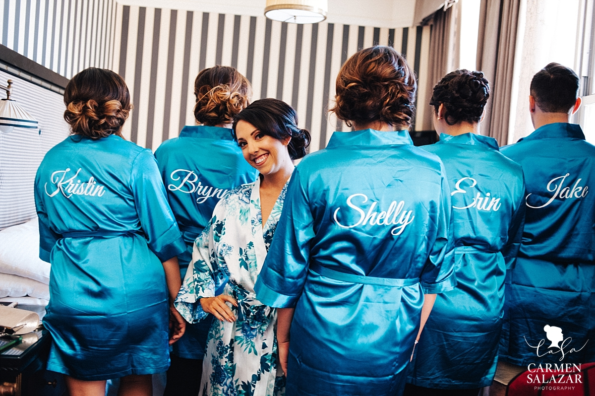 Cute colorful bridesmaid robes with names - Carmen Salazar