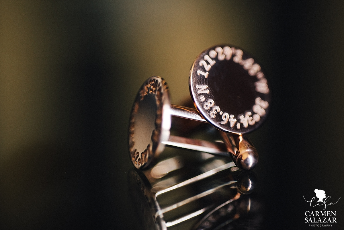 Custom brass groom's cuff links - Carmen Salazar