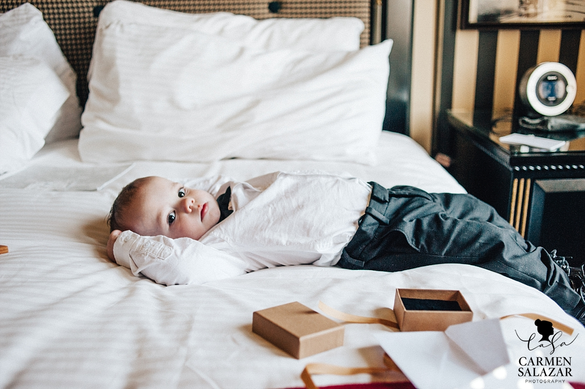 Sleepy ring bearer at The Citizen Hotel - Carmen Salazar