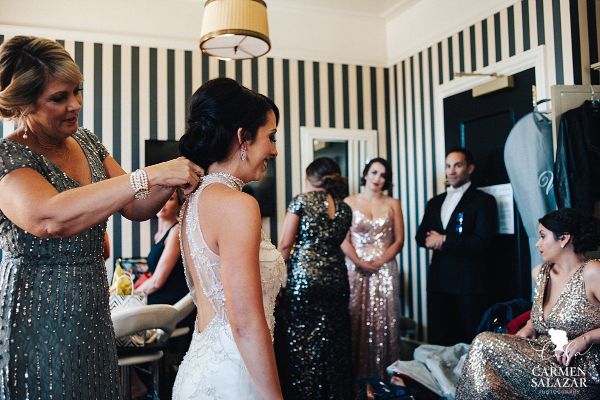 Glitz and glam bridal party getting ready for ceremony - Carmen Salazar