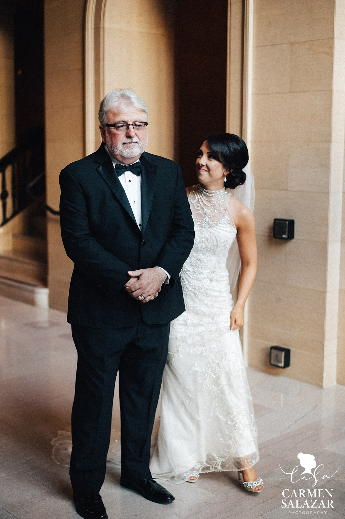 Father of the bride first look in Citizen lobby - Carmen Salazar