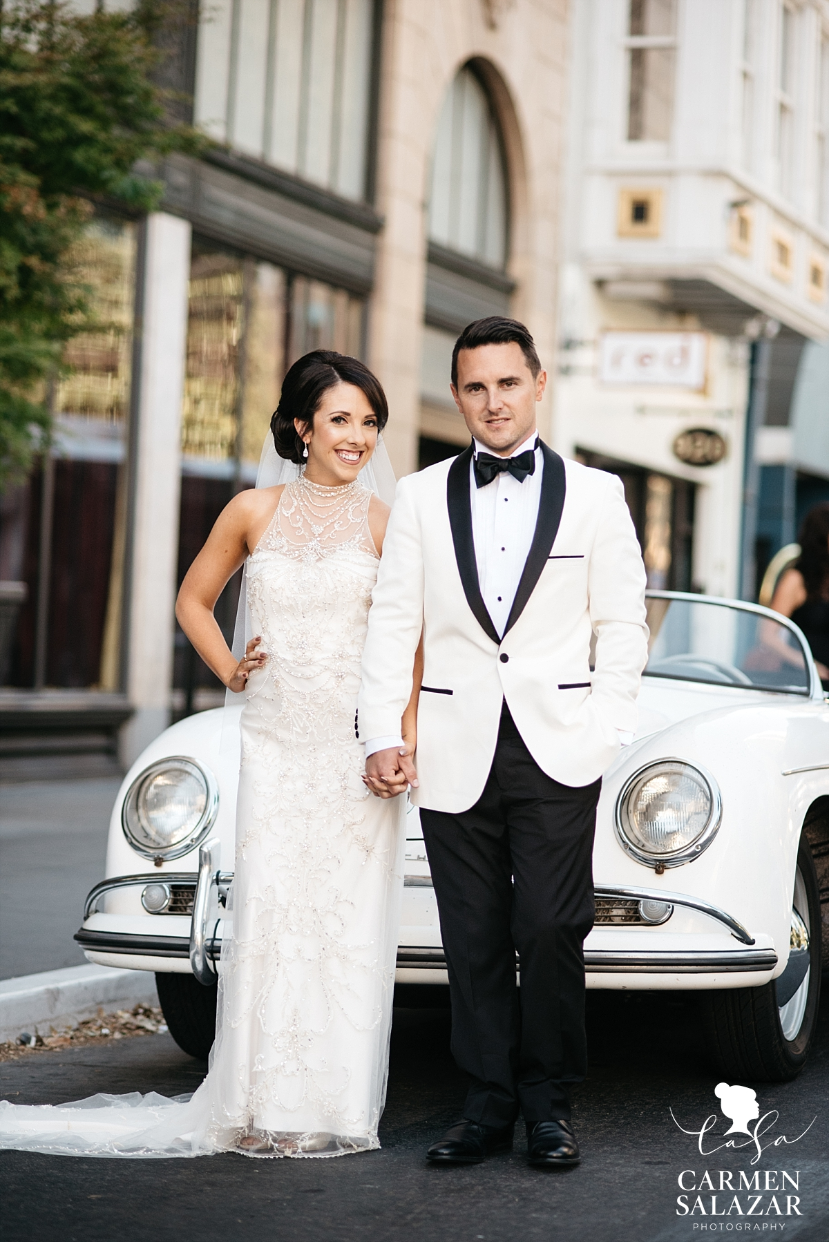 Classic style bride and groom with Porsche - Carmen Salazar