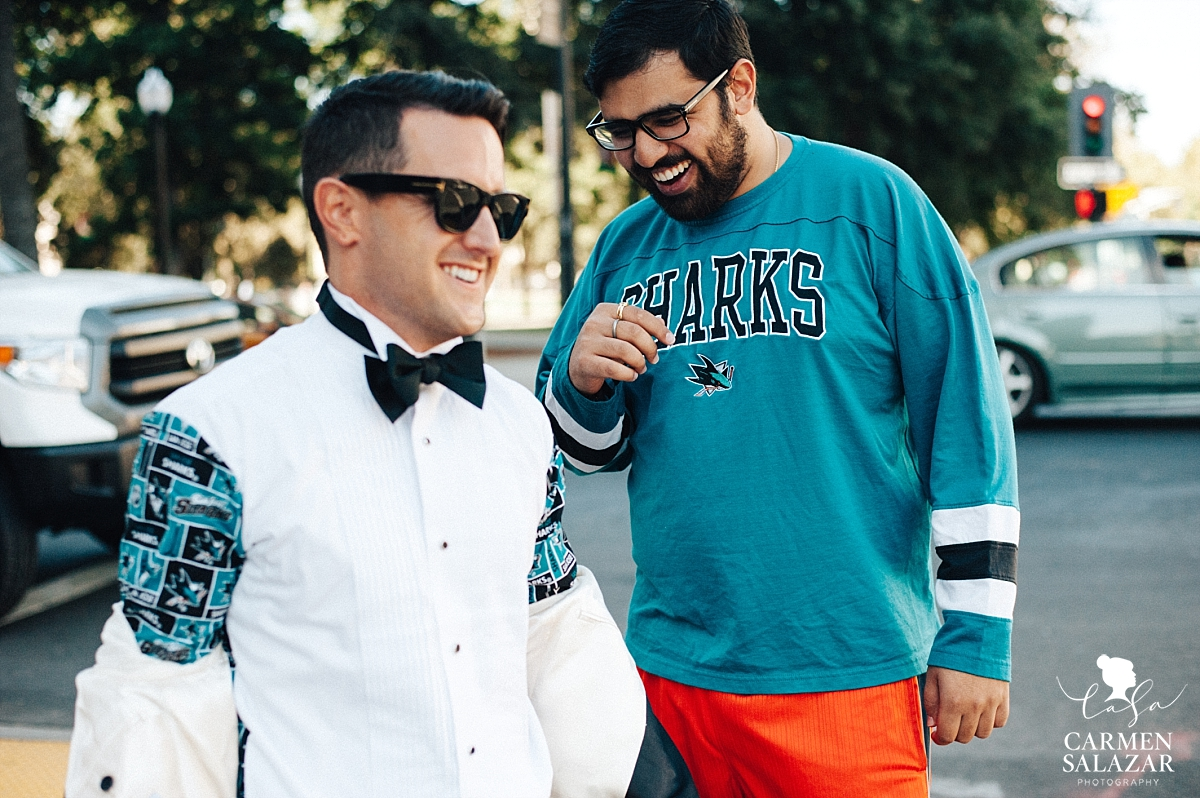 Sharks fan spots groom with Sharks dress shirt - Carmen Salazar