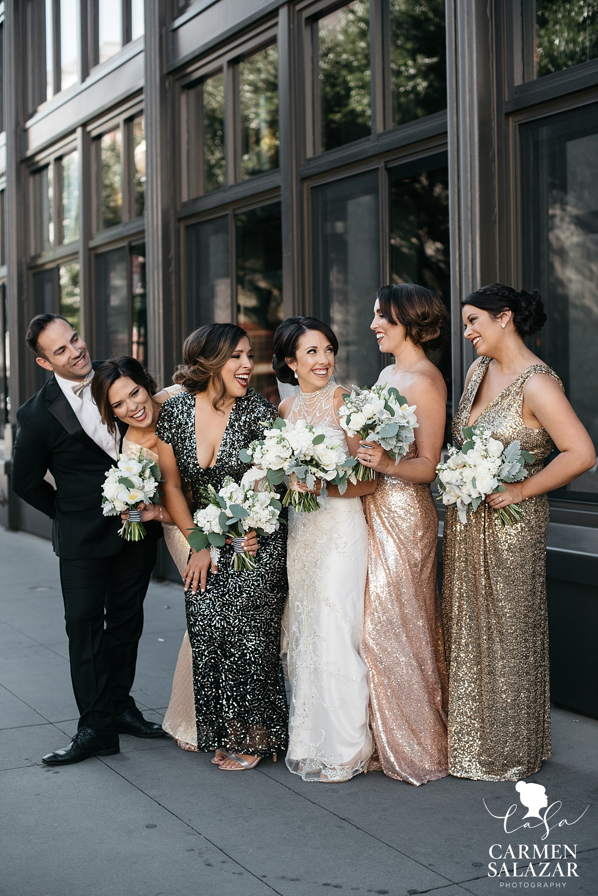 Playful bridal party photos in front of The Grange - Carmen Salazar