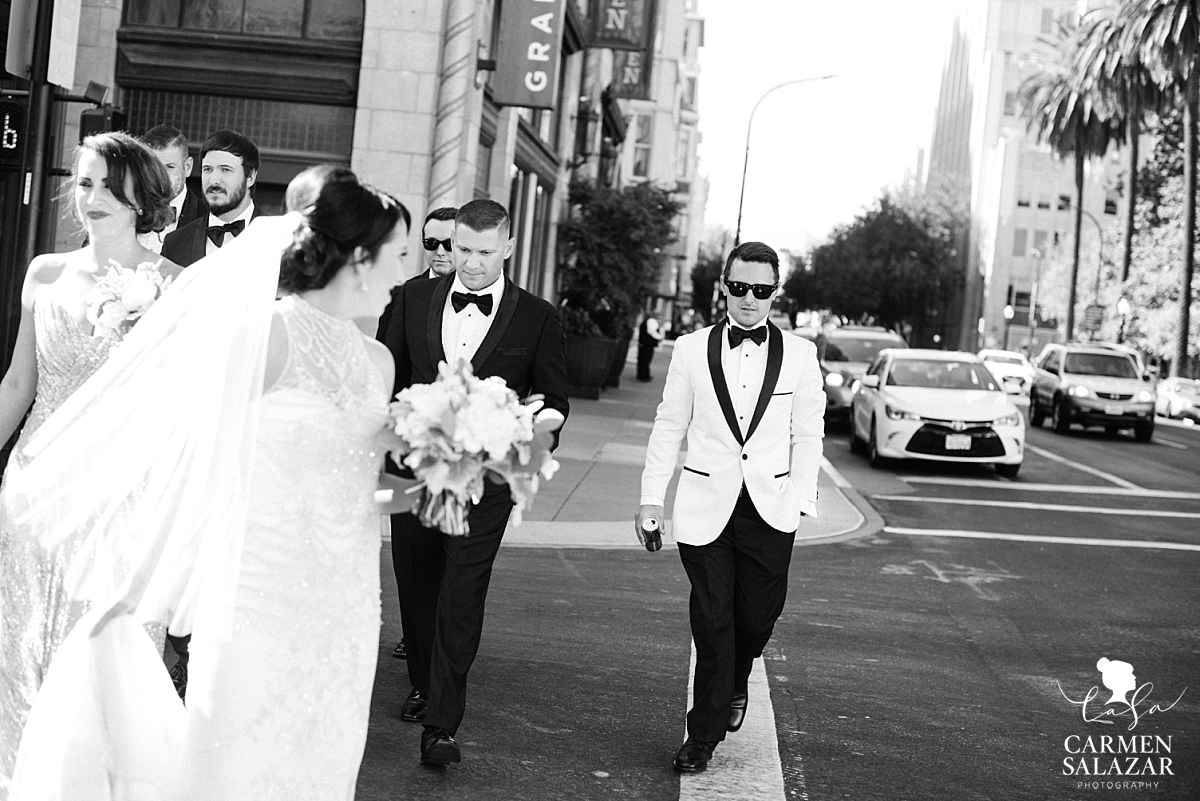 Cool bridal party portraits in Downtown Sacramento - Carmen Salazar
