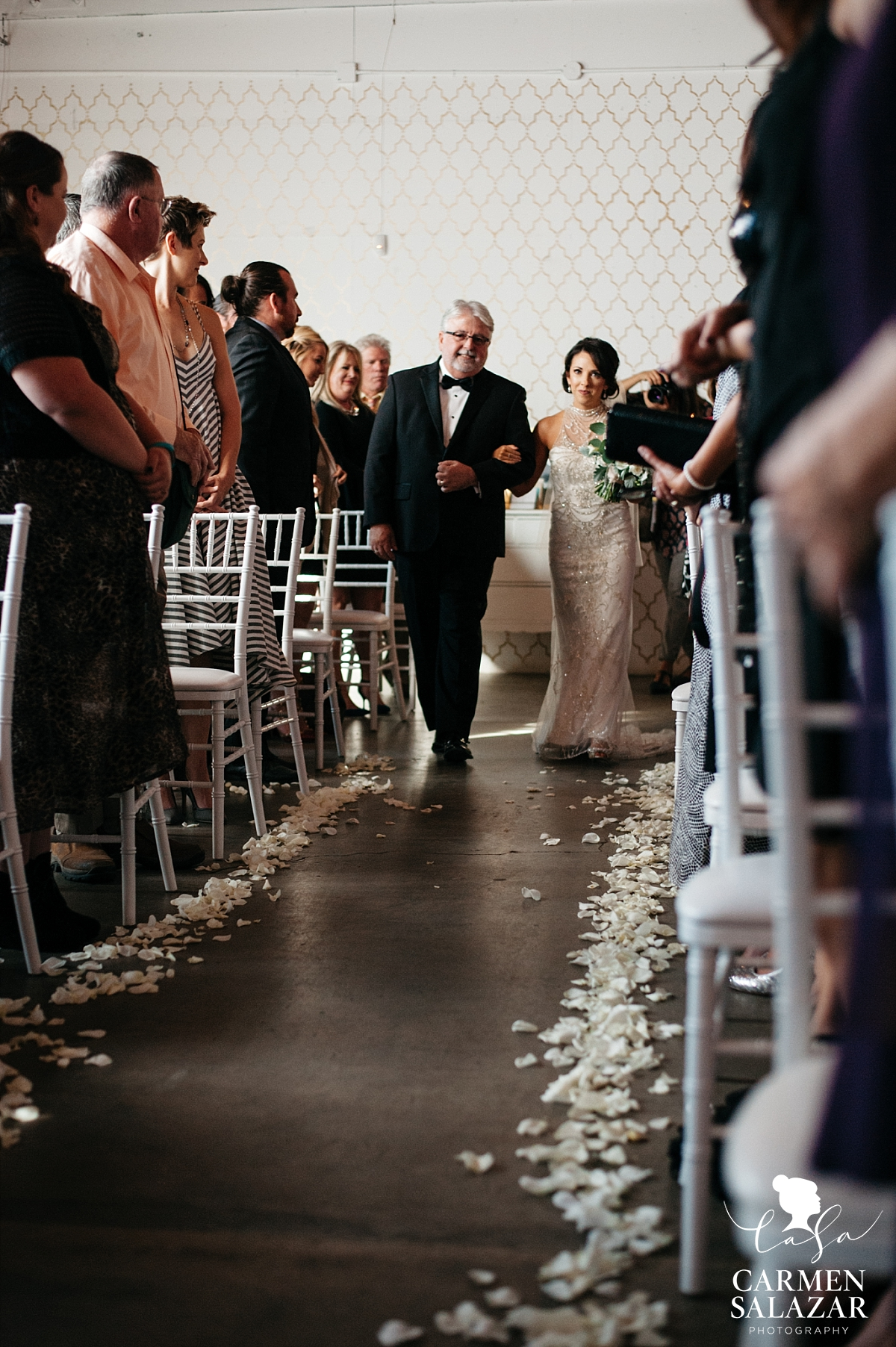 Bride walking down the aisle at The Find/Studio 817 - Carmen Salazar