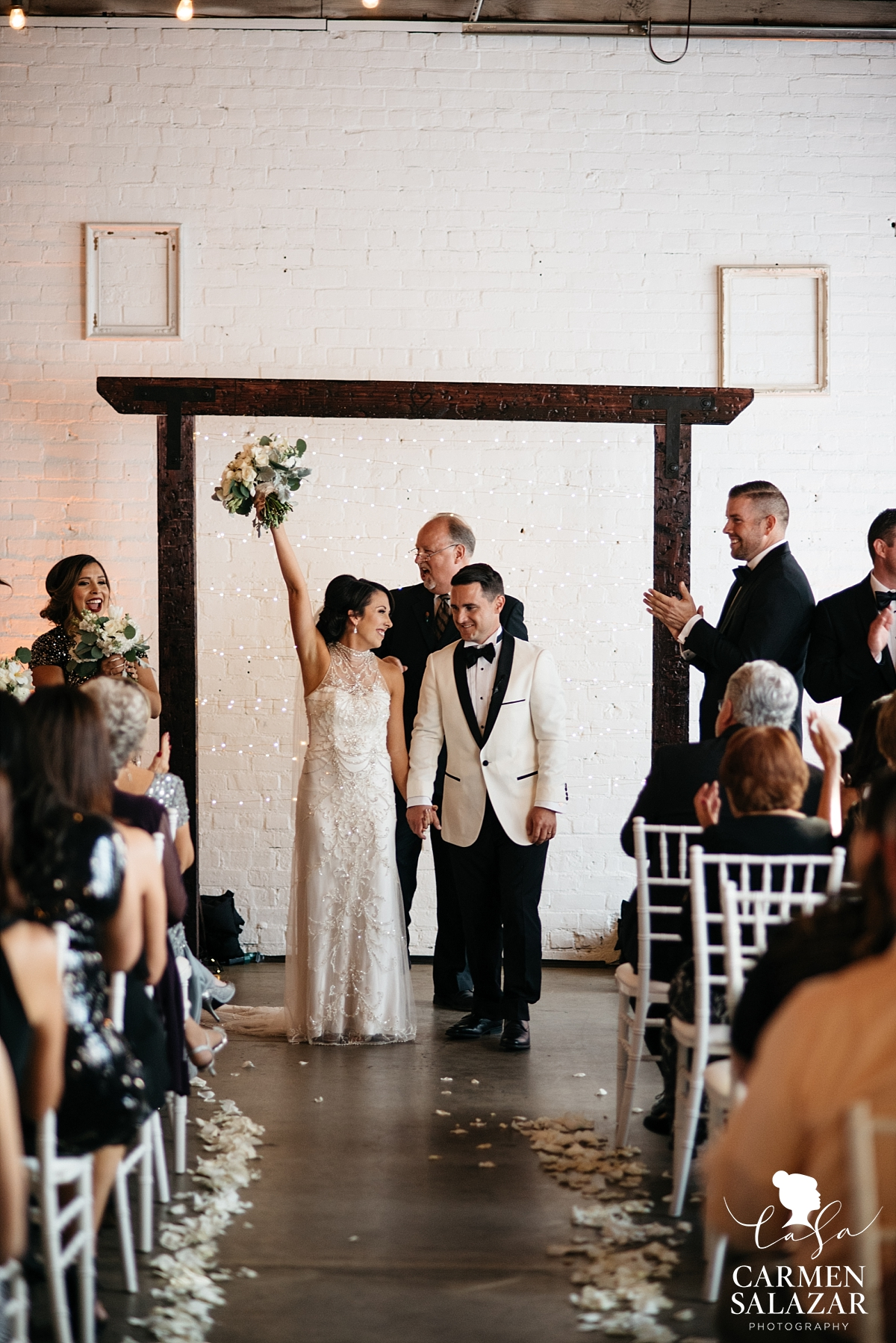 Happy newlyweds celebrating at The Find - Carmen Salazar