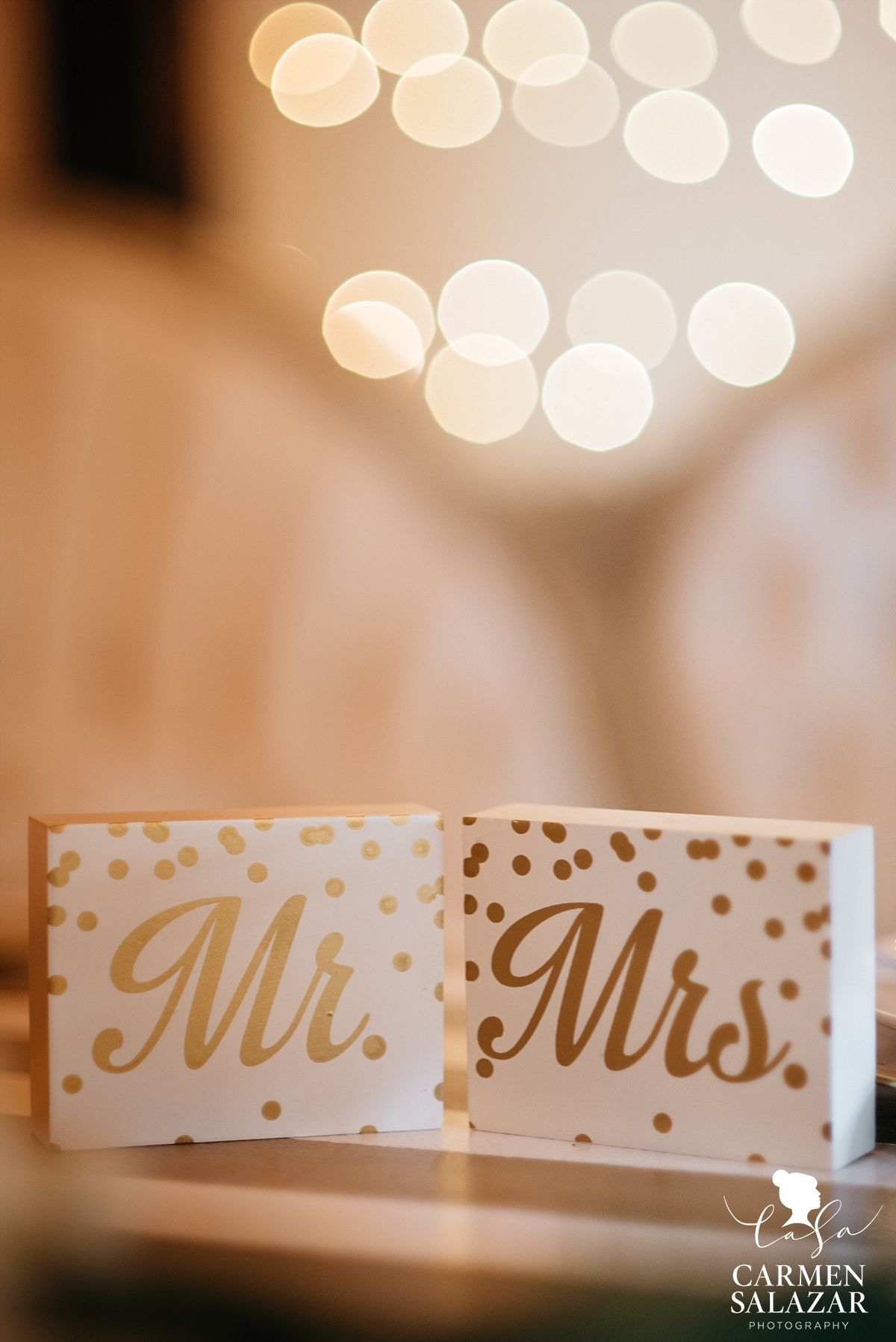 Hand-painted Mr. and Mrs. head table signs - Carmen Salazar