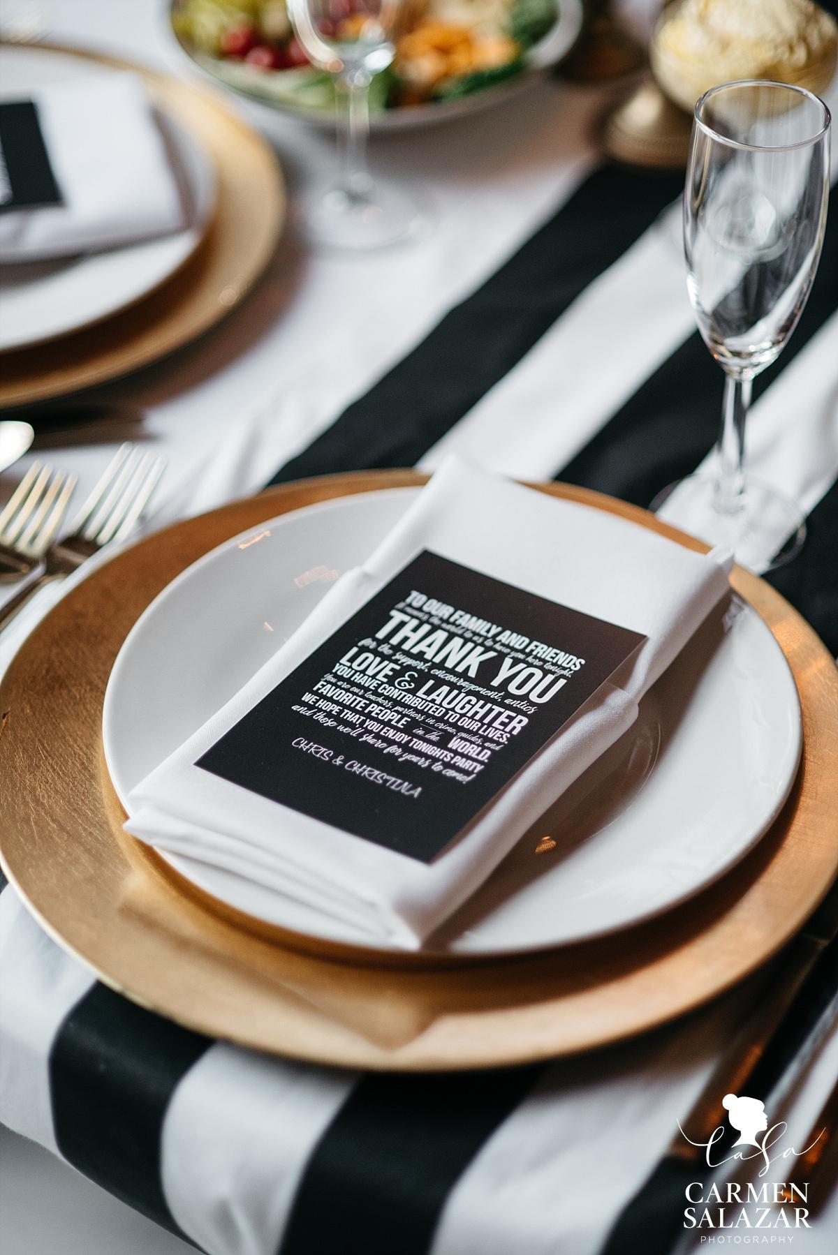Cute black and white reception details with La Tavola linens - Carmen Salazar