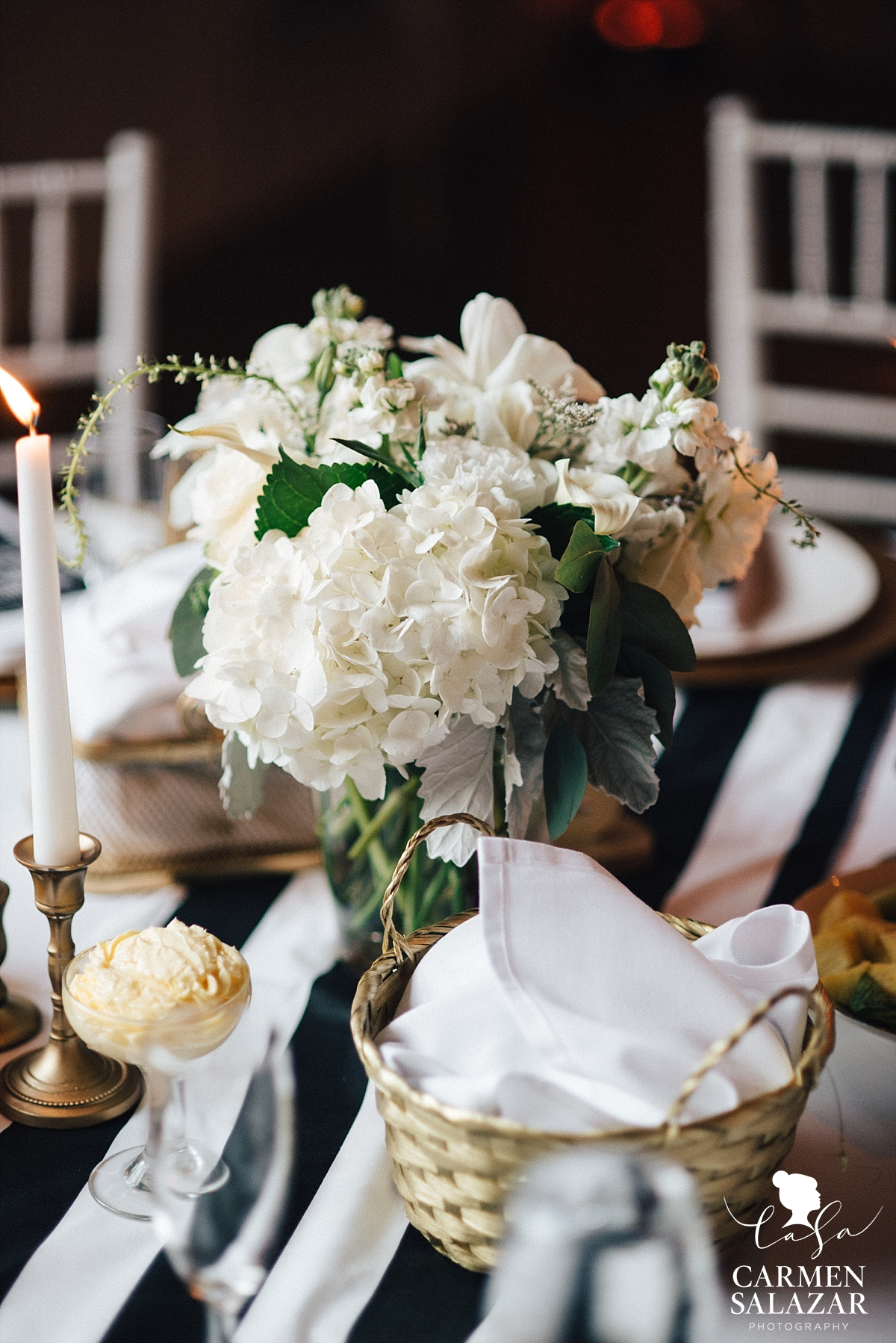 Sweet ivory and forest green floral centerpiece - Carmen Salazar