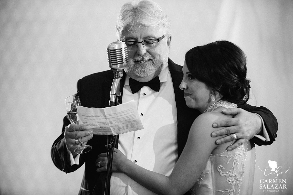 Emotional dad giving speech with bride at Sacramento wedding - Carmen Salazar