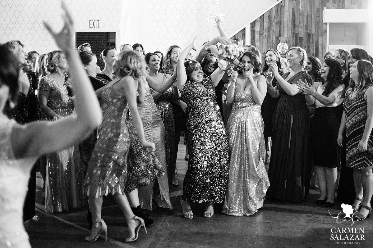 Funny Sacramento wedding bouquet toss - Carmen Salazar