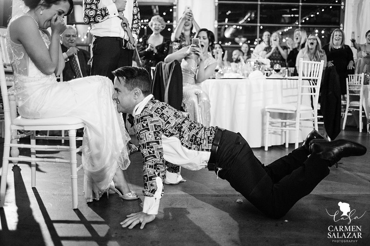 Silly garter toss dancing groom at Studio 817 - Carmen Salazar