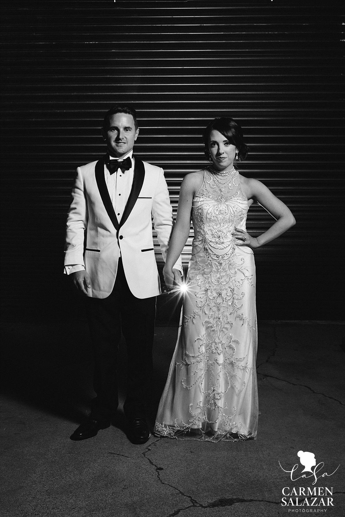 Bride and groom outside The Find / Studio 817 - Carmen Salazar
